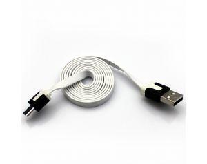 Kabel Micro USB 1m płaski biały