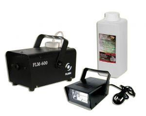 Wytwornica Dymu Flash FLM-600 + Stroboskop + Płyn dymu 1L ADJ