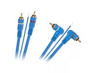 Kabel 2 x RCA - 2 x RCA + żyła 5m kątowo - prosty