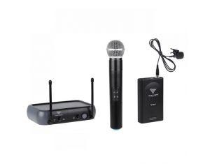 Mikrofony Bezprzewodowe JS-268V dwukanałowe 1szt do ręki 1szt na klipa