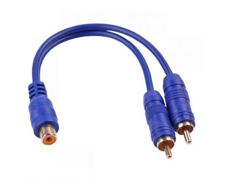 Kabel 1 RCA  Gniazdo - 2 RCA Wtyk 20cm