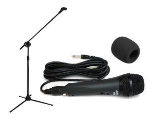 Mikrofon VK-605, statyw mikrofonowy + gąbka