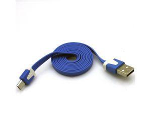 Kabel Micro USB 1m płaski niebieski