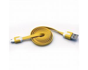 Kabel Micro USB 1m płaski żółty