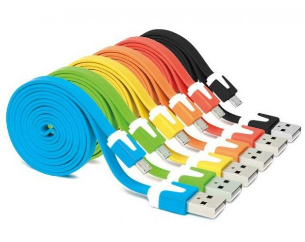 Kabel Micro USB 1m płaski kolory